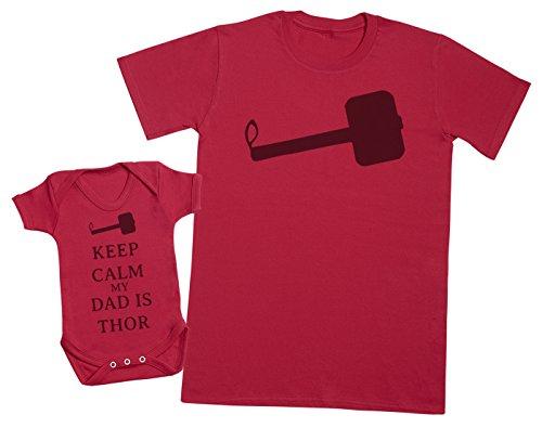 Keep Calm My Dad is Thor - Ensemble Père Bébé Cadeau - Hommes T-Shirt & Body bébé - Rouge - Large & 18-24 Mois
