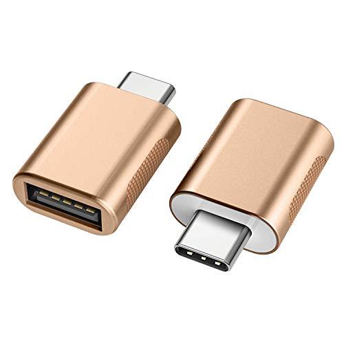 nonda Adattatore da USB C a USB 3.0 (2 Pezzi),Adattatore OTG da Thunderbolt 3 a USB Femmina per MacBook Pro2019, MacBook Air 2020, iPad Pro 2020, Altri dispositivi con USB Tipo C (Oro)