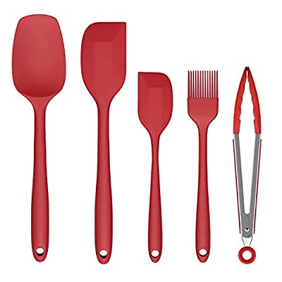 Silicone Spatula Set, Ouddy 5 Pieces Kitchen Utensils Set for Baking Cooking & Mixing, High Heat Resistant Food Grade Silicone Rubber Spatula Non-Stick Kitchen Spatula Dishwasher Safe - Red