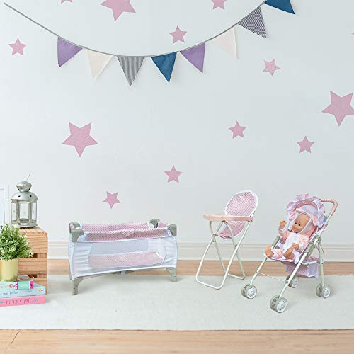 Olivia's Little World Polka Dots Princess 3-in-1 Baby Doll Nursery Set, Pink/Gray