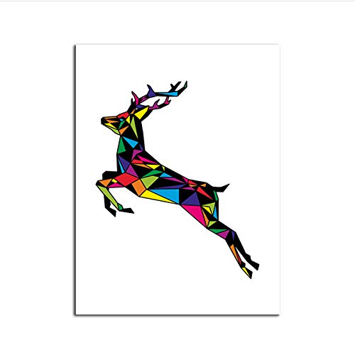 chthsx Aquarel van Deer Family met Pine Forest Canvas Kunstdruk Schilderij Poster, Wandschildering voor Home Decoration Afbeeldingen 60x80 cm Geen lijst