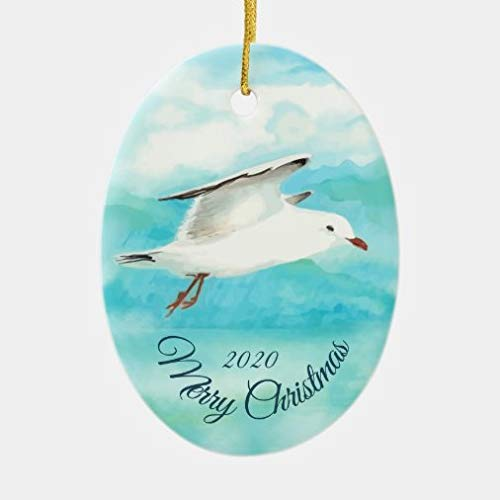 onepicebest Christmas Tree Hanging Ornaments, Custom Dated Christmas Watercolor Seagull Bird Ceramic Oval Shape Ornament for Holiday Wedding Party Decoration Tree Ornaments,Xmas Gifts