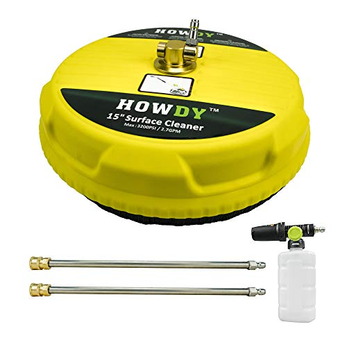 HOWDY ConcretePressure Washer Surface Cleaner,15 Inch Disc Pressure Washer Accessories-Splash Free Skirt-Power Washer Surface Cleaner with Rotating,Clean a Driveway,Floor,Patio,Deck,Sidewalk-4000PSI