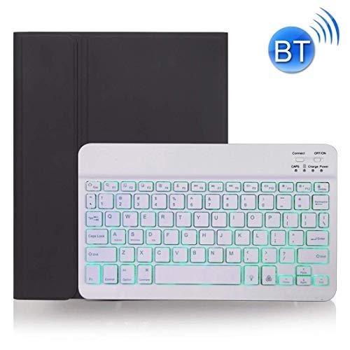 Zjcpow Tastatur-Kasten, entfernbaren Haut Textur Bluetooth (für IPad Pro 11 Zoll 2020/2018), mit Stiftablage und Beleuchtung (Farbe: Schwarz) xuwuhz
