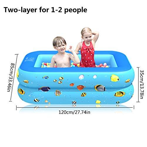 Familie Opblaasbaar Zwembad Verdikt Tweelaags Drie-laags Rechthoekig Opblaasbaar Zwembad Duurzaam Veilig Speelzwembad voor Kinderen Kinderen Volwassenen Baby's