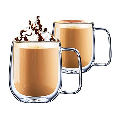 CMXING Tazas de café de Pared Doble Copas Tazas de café Termo Transparentes aisladas para Espresso Cappuccino Latte (300...