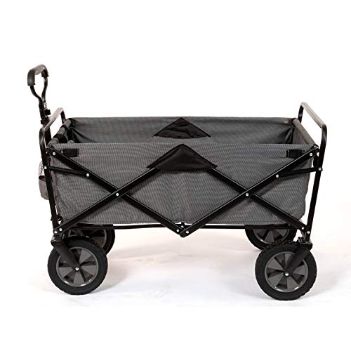 Mac Sports Heavy Duty Steel Frame Collapsible Folding 150 Pound Capacity Outdoor Camping Garden Utility Wagon Yard Cart, Gray