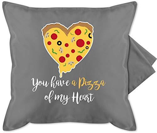Shirtracer Valentinstag Kissen - You Have a Pizza of My Heart weiß - Unisize - Grau - Pizza - GURLI Kissenhülle - Kissenbezug 50x50 cm und Dekokissen Bezug