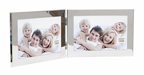 Deknudt Frames S67AH1 Fun & Deco 13x18 Doppelrahmen glänzendes Silber, horizontal Metall Fun & Deco
