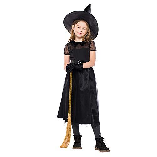 Xinvivion Mujer Disfraz Bruja de Halloween, Encaje de Tul Manga Corta Negro Niña Vestido con Sombrero, Cinturón y Guantes