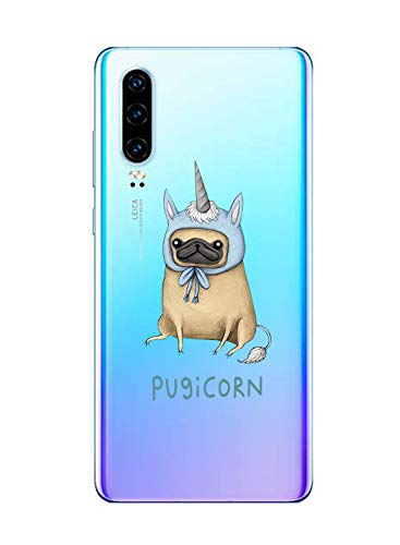 Oihxse Transparent Coque pour Huawei Nova 5i/P20 Lite 2019 Etui en Silicone Souple Gel TPU Protecteur Bumper Hybrid [Ultra Mince] [Antichoc] [Anti-Scratch] Chien Motif Design Housse (A5)