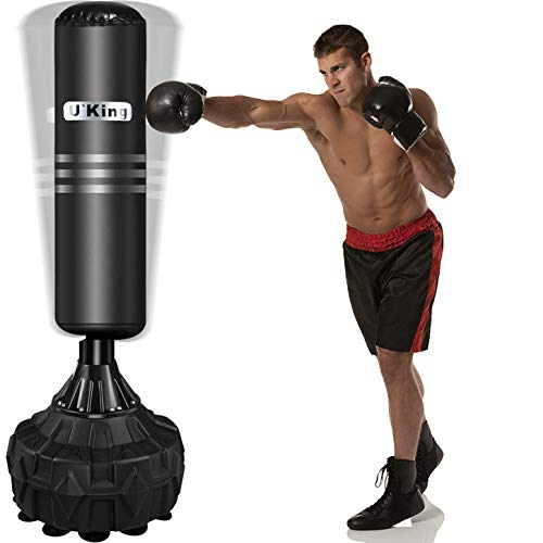Yoken Freestanding Punching Bag, Stand Kickboxing Bags with Durable Suction Cup Rubber Base for Adult Youth - Men Stand Heavy Boxing Bag   Black