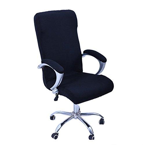 WINOMO Cubiertas de la silla de la computadora de oficina Sillon giratorio Tapa deslizable Extraible Estiramiento Funda de la silla de escritorio Protector Tamano L (Negro)