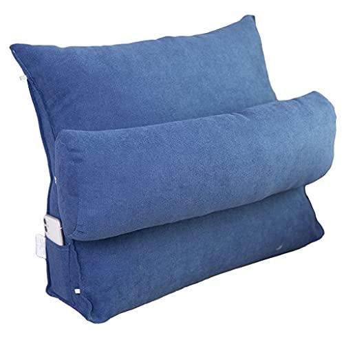 xinke Almohadas De Espalda para Sentarse En La Capa De Cuña De La Cama para Leer En Almohadas De Lecho De Cama con Almohadas De Rollo Desmontable(Size:45×45×20cm,Color:Azul Oscuro)