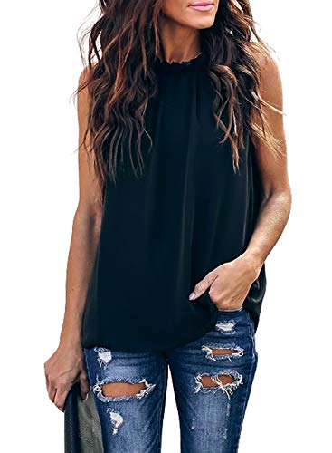 AlvaQ Chiffon Tank Tops for Women Summer Casual Sleeveless Flowy Tunic Blouses Shirts Black Large