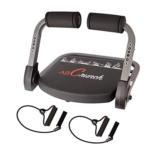 Ab Machine, Abs Workout, Abdominal Exercise Equipment with Resistance Bands and Sports Action DVDs, Stair master Cruncher,Total Body Muscle Building for Home Gym Office(Black)