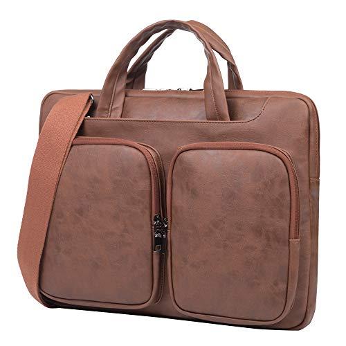 """15.6 Inch 360° Protective Laptop Sleeve Case Computer Bag,Leather Laptop Shoulder Bag for 15.6"""" Acer Aspire, Predator, Inspiron, ASUS ZenBook 15 VivoBook, Brown"""