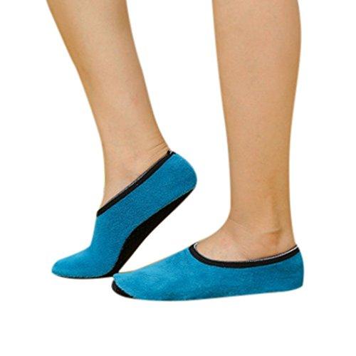 Calcetines de yoga de Gaddrt. Calcetines de yoga, antideslizantes, con forro polar cálido, azul celeste