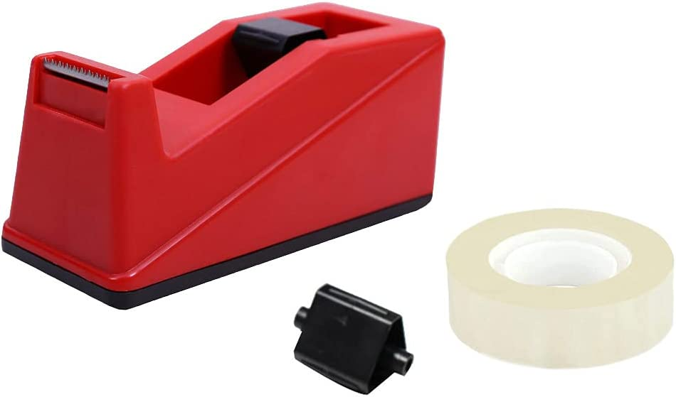 DBKMPZ Classic Desktop Tape Dispenser,1 in Core,Non-Skid Base - with 1 Premium Rolls Invisible Clear Tape, Perfect for Office, Home, School (Red)