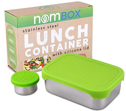 NomBox Leak Proof Stainless Steel Food Storage Container  Bento Lunch Box with Soft Flexible Silicone Lid  Bundle With Bonus Dipping Sauce Container 2 Items