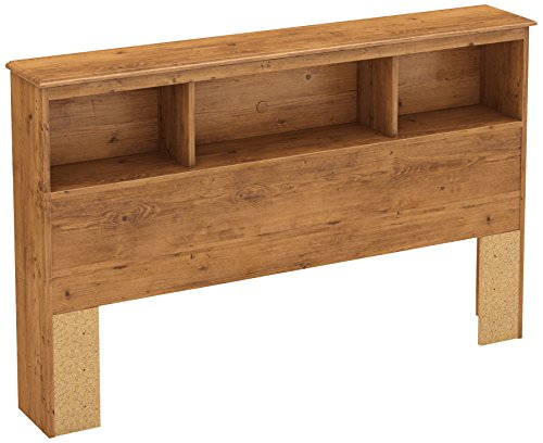 South Shore Little Treasures Bookcase Headboard with Storage, Full 54-inch, Country Pine