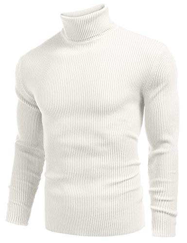 COOFANDY Mens Ribbed Slim Fit Knitted Pullover Turtleneck Sweater White