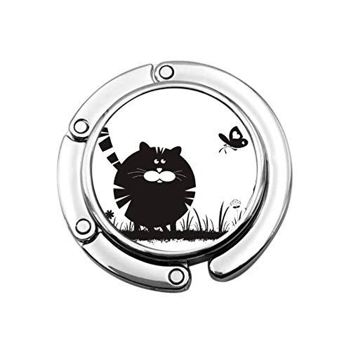 Lindo Gato Kawaii con Mariposa, Bolso de Mesa, Gancho, Perchas, Bolsa, diseños únicos, sección Plegable,
