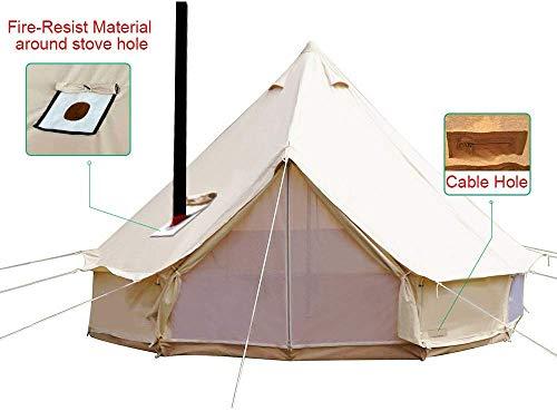 LAL6 Sport Zelt Camping 4-Jahreszeiten-wasserdichtes Baumwollsegeltuch-glockenzelt Mit Ofenloch Und Kabelloch,Beige,6M