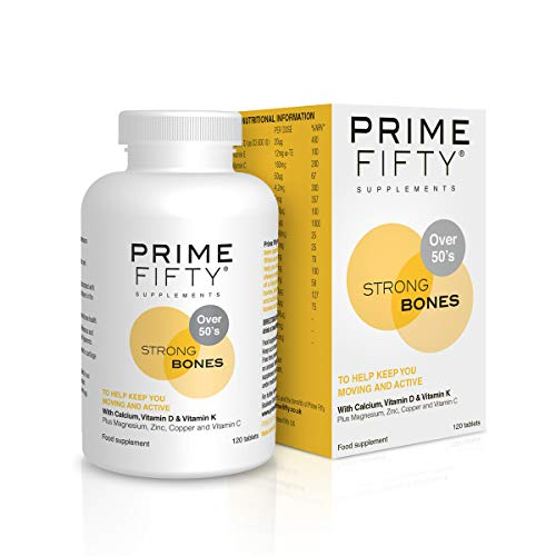 PRIME FIFTY Strong Bones | Over 50 Multivitamins & Minerals Targetted for Bone Support | for 50, 60, 70 Plus Men Women | Wiser Than Just Calcium Tablets or Generic Multi Vitamin | 120 Tabs X 1