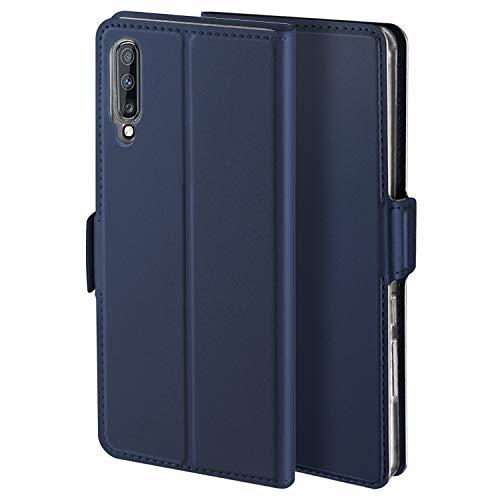 HoneyHülle für Handyhülle Samsung Galaxy A7 2018 Hülle Premium Leder Flip Schutzhülle für Samsung Galaxy A7 2018 Tasche, Blau