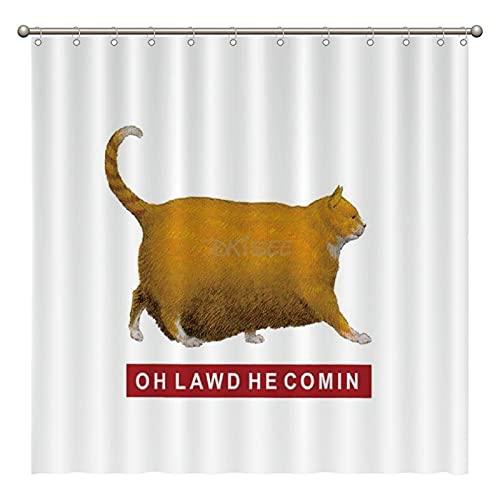 DKISEE OH Lawd HE Comin Meme Duschvorhang-Set mit Haken, Polyester-Badevorhang für Badezimmer, Badezimmer-Dekor, Geburtstagsgeschenk, 183 x 183 cm, ovznpo7rzxtg