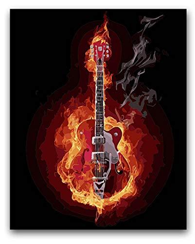 Diy Malen Nach Zahlen E-Gitarre Gebrannt Von Feuer Malen Nach Zahlen Mit Kits 40X50 40X50Cm