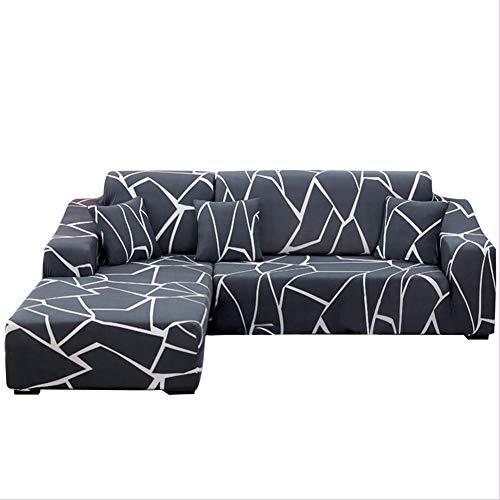 Copridivano con Penisola Elasticizzato Chaise Longue Copridivano Angolare Antimacchia Sofa Cover componibile in Poliestere a Forma di L 2PCS, Federe Protettive per Divano(Marmo,2 Posti+2 Posti)