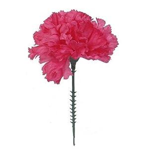 Larksilk Fuchsia Silk Carnation Picks, Artificial Flowers for Weddings, Decorations, DIY Decor, 100 Count Bulk, 3.5″ Carnation Heads with 5″ Stems