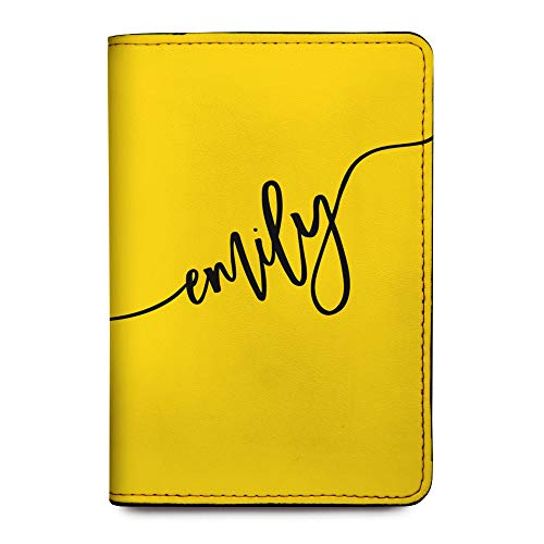 Personalized Leather RFID Passport Holder Cover - Travel Wallet - Yellow