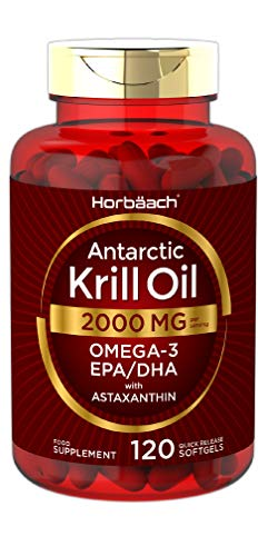 Antarctic Krill Oil 2000mg | 120 Capsules | Omega 3s EPA, DHA, Astaxanthin | for Healthy Heart, Joints & Immune Support | by Horbaach