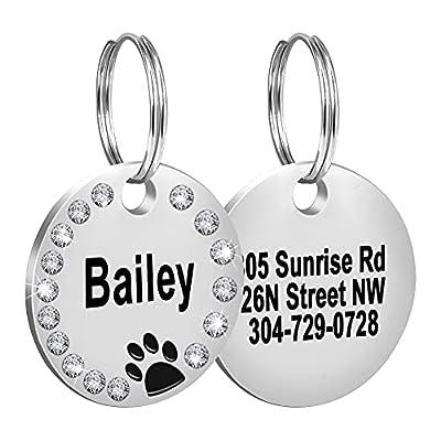 Fibernail Custom Crystals Pet ID Tag, Engraved Cute Dog ID Tags, Personalized Rhinestones Dog Tags, Sparkling Paw Dog ID tag, Double Sided Pet Tags(Black)