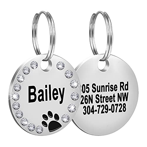 Fibernail Custom Crystals Pet ID Tag,Engraved Dog ID Collar Tags,Personalized Rhinestones Cat Tags,Sparkling Paw Double Sided Pet Tags( Black)