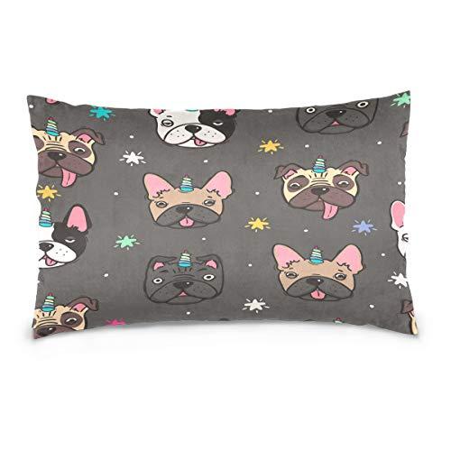 Cotton Queen Pillowcase Cartoon Dog French Bulldog with Unicorn Horn Star DotsCotton Pillow Case Queen Size Soft and Cozy Bedding Zipper Closure Pillow Cover-20x30 Inch