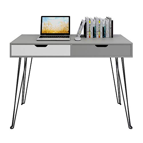 GHQME Multifunctional Computer Desk 43' with 2 Drawers Home Office Desk Writing Study Desk Vanity Table Vanities - Gray