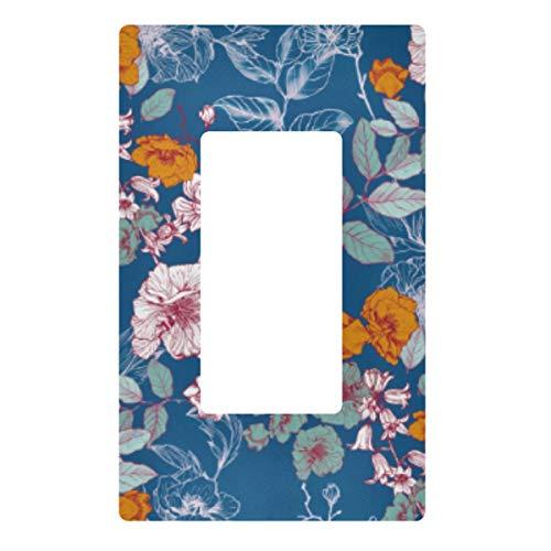 Placa decorativa de pared con interruptor de luz – Coloridas flores vintage enchufes interruptor cubierta de 3 bandas enchufes eléctricos para dormitorio, cocina, decoración del hogar