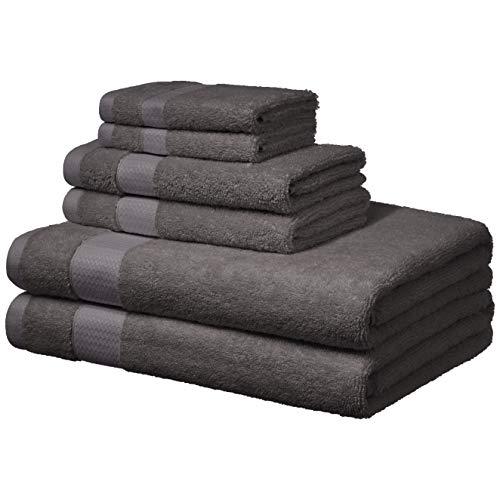 Amazon Basics - Handtücher für den Alltag - 2 Badetücher, 2 Handtücher und 2 Waschlappen, Nebel-Grau