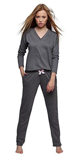 SENSIS stillvoller Baumwoll-Pyjama Schlafanzug Hausanzug aus feinem Langarm T-Shirt und bequemer Hose, Graphit, Gr. L (40)
