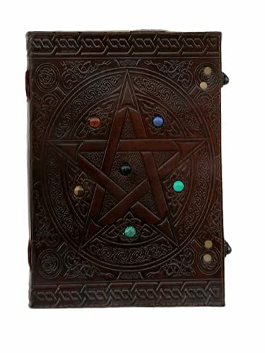 Handmade Leather Journal for Women, Pentagram Book of Shadows Notebook, Leather Bound Writing Notebook, Pentacle Grimoire Celtic Unni Notebook, Spiral Maleden Leather Diary Daily Sketchbook, Pentagon Wicca Witchcraft Notebook, Wiccan Witches Journal, Leather Embossed Unlined Leather Diary Journal 10x7 Inch