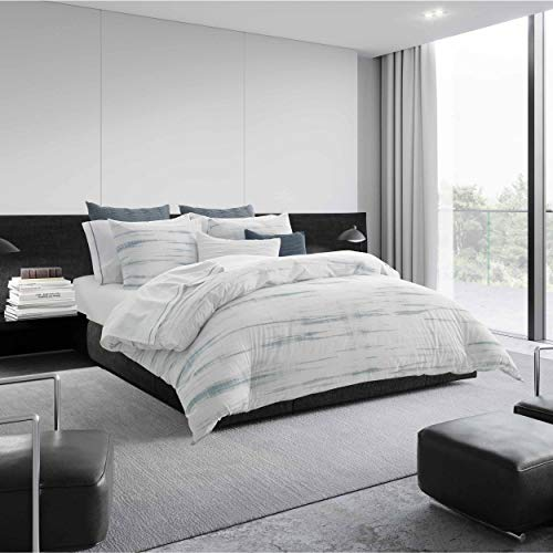 Vera Wang | Marble Shibori Collection | 100% Cotton Crisp, Cool, and Breathable Percale Duvet Cover, Modern and Contemporary Style for Bedroom Décor, King, Silver Blue