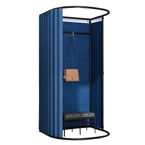 BAIYING Tienda De Ropa Sala De Montaje, Estable Duradero Fácil De Instalar Tela De Lino Gran Espacio Removible Sencillo Probador, 8 Colores (Color : Blue, Size : 85X80X200CM)