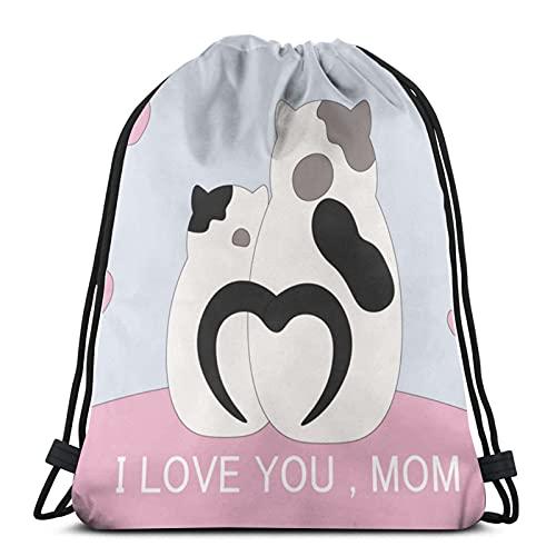 Sacca con coulisse, con scritta 'I Love You Mom Cat Love Cat and Kitten Gymsack Bag Gym Sports Bag Outdoor Esercizio Correre Nuoto Casual Zaino
