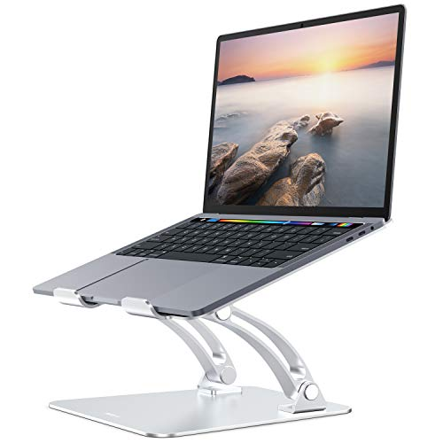Nulaxy Laptop Stand, Ergonomic Height Angle Adjustable Computer Laptop Holder Compatible with MacBook, Air, Pro, Dell XPS, Samsung, Alienware All Laptops 11-17', Supports Up to 44 Lbs-Silver