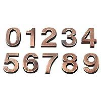 Jaimenalin 3D数字ドアプラーク、家引き出しサインゲート、桁0-9 ABS番号タグ、ホテルホームステッカー、アドレスドアラベル、ブロンズ