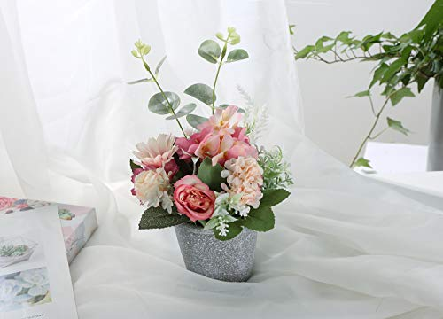 AngelUU Artificial Rose Flowers Artificial Plants Bonsai Artificial Hydrangea Flowers in Ceramic Vase Mini Potted Plant for Home Party Wedding Office Table Décor(Pink)